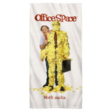 Office Space Work Sucks Cotton Front Poly Back Beach Towel White 30x60