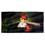 Pink Floyd Dark Side Of The Moon Cotton Front Poly Back Beach Towel White 30x60