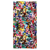 Power Rangers Crowd Of Rangers Cotton Front Poly Back Beach Towel White 30x60