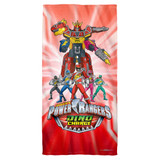 Power Rangers Dino Ranger Cotton Front Poly Back Beach Towel White 30x60