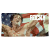 Rocky American Hero (Front Back Print) Cotton Front Poly Back Beach Towel White 30x60