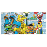 Sesame Street Retro Gang Cotton Front Poly Back Beach Towel White 30x60