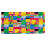Sesame Street Squares Cotton Front Poly Back Beach Towel-30x60