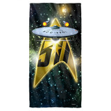 Star Trek 50Th Ship Cotton Front Poly Back Beach Towel White 30x60