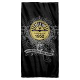 Sun Records Rockin Scrolls Cotton Front Poly Back Beach Towel White 30x60