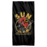 Sun Records Rocking Rooster Cotton Front Poly Back Beach Towel White 30x60