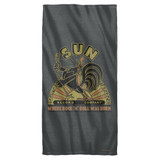 Sun Records Sun Rooster Cotton Front Poly Back Beach Towel White 30x60