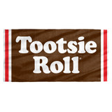 Tootsie Roll Wrapper Cotton Front Poly Back Beach Towel White 30x60