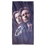 X-Files Among The Stars Cotton Front Poly Back Beach Towel White 30x60