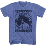 Jimi Hendrix Live USA Tour 68 Royal Heather Adult T-Shirt