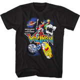 Voltron Voltron in Space Black Adult T-Shirt
