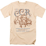 Creedence Clearwater Revival Sketch Poster 18/1 T-Shirt Cream
