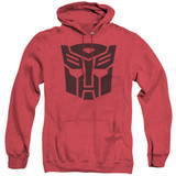 Transformers Autobot Adult Heather Hoodie Sweatshirt Red