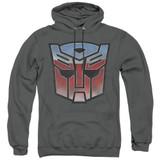 Transformers Vintage Autobot Logo Adult Pullover Hoodie Sweatshirt Charcoal