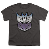 Transformers Vintage Decepticon Logo Youth T-Shirt Charcoal