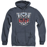 Transformers Autobot Airbrush Logo Adult Heather Hoodie Sweatshirt Navy