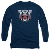 Transformers Autobot Airbrush Logo Adult Long Sleeve T-Shirt Navy