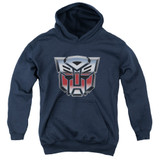 Transformers Autobot Airbrush Logo Youth Pullover Hoodie Sweatshirt Navy