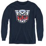 Transformers Autobot Airbrush Logo Youth Long Sleeve T-Shirt Navy