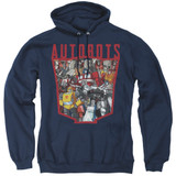 Transformers Autobot Collage Adult Pullover Hoodie Sweatshirt Navy