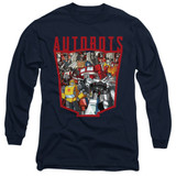 Transformers Autobot Collage Adult Long Sleeve T-Shirt Navy