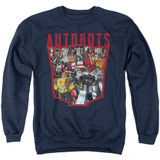 Transformers Autobot Collage Adult Crewneck Sweatshirt Navy