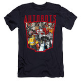 Transformers Autobot Collage Premium Adult 30/1 T-Shirt Navy