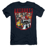 Transformers Autobot Collage Adult 30/1 T-Shirt Navy