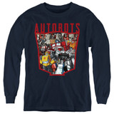 Transformers Autobot Collage Youth Long Sleeve T-Shirt Navy
