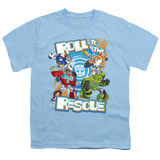 Transformers Roll To The Rescue Youth T-Shirt Light Blue