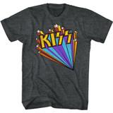 Kiss Kiss Stars Black Heather Adult T-Shirt