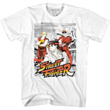 Street Fighter Grainy Background White Adult T-Shirt