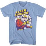 Flash Gordon Raygun Light Blue Heather Adult T-Shirt