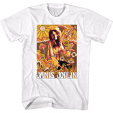 Janis Joplin Drawn Over Pic White Adult T-Shirt