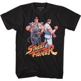 Street Fighter Aku Ryu Logo Black Adult T-Shirt