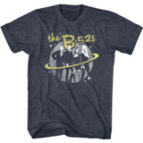 The B-52's Logo and Planet Navy Heather Adult T-Shirt