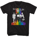 The B-52's Band and Rainbow Black Adult T-Shirt