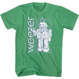 Weezer Robot Kelly Heather Adult T-Shirt