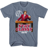 Anchorman Stay Classy Logo Indigo Heather Adult T-Shirt