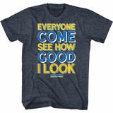 Anchorman Good I Look Type Navy Heather Adult T-Shirt