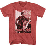 They Live Cop and Car Red Heather Adult T-Shirt