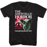 Amityville Horror Pig and House Black Adult T-Shirt