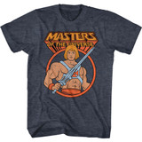 Masters of the Universe Heman In Circle Navy Heather Adult T-Shirt