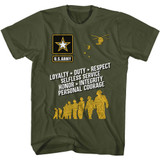 Army Values Military Green Adult T-Shirt