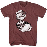 Popeye Arms Crossed Vintage Maroon Heather Adult T-Shirt