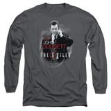 X-Files Doggett Long Sleeve Adult 18/1 T-Shirt Charcoal