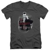 X-Files Doggett Adult V-Neck 30/1 T-Shirt Charcoal