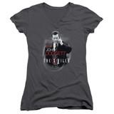 X-Files Doggett Junior Women's T-Shirt V-Neck Charcoal