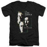 X-Files Lone Gunmen Adult V-Neck 30/1 T-Shirt Black