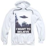 X-Files Believe Poster Adult Pullover Hoodie Sweatshirt White